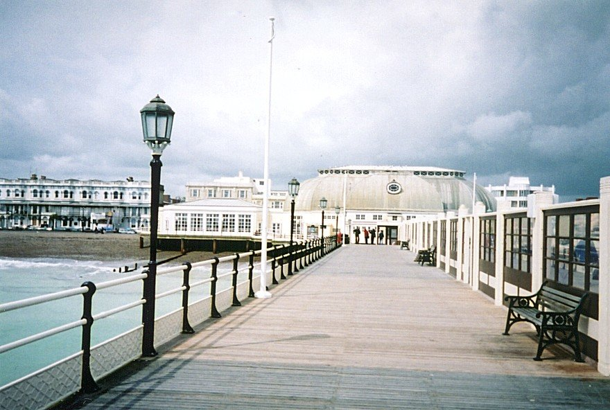 England-West-Sussex-Worthing-pier-view-to-shore-also-storm-iron-railings-and-lampposts-blue-aqua-tweaked-2-DHD.jpg